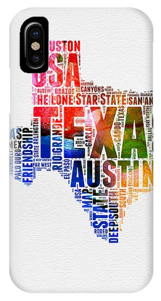 Austin iPhone Case - Texas Watercolor Word Cloud  by Naxart Studio