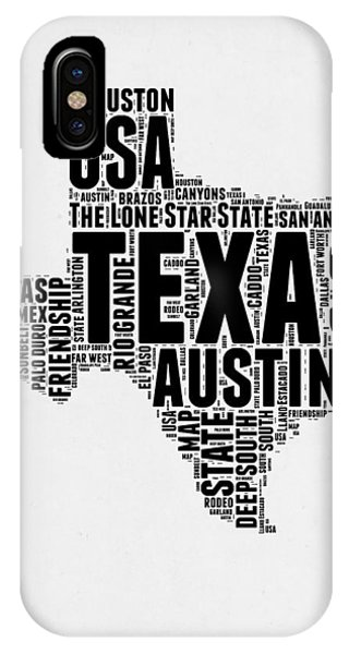 Austin iPhone Case - Texas Word Cloud 2 by Naxart Studio