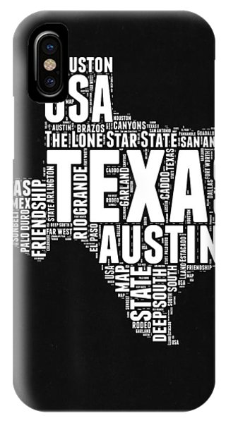 Austin iPhone Case - Texas Word Cloud Black And White Map by Naxart Studio