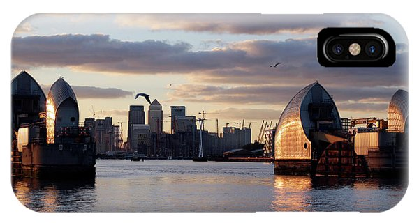 Thames Barrier And Seagulls IPhone Case