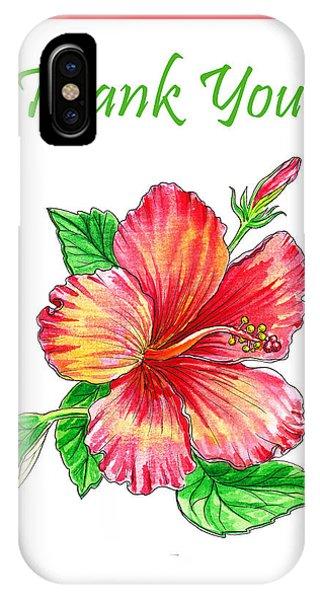 Hibiscus Flower iPhone Case - Thank You Hibiscus  by Irina Sztukowski