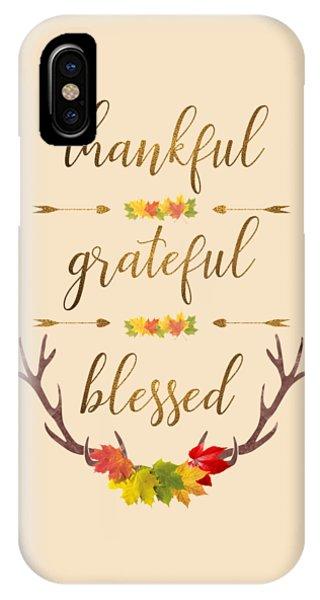IPhone Case featuring the digital art Thankful Grateful Blessed Fall Leaves Antlers by Georgeta Blanaru