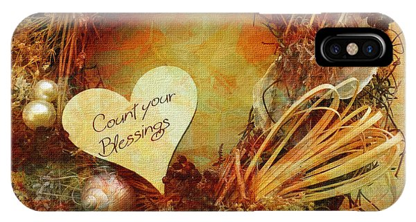 IPhone Case featuring the digital art Thanksgiving Card 2016 by Kathryn Strick