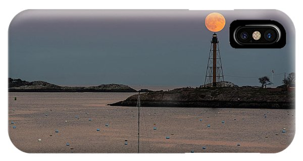 The 2016 Supermoon Balancing On The Marblehead Light Tower In Marblehead Ma IPhone Case
