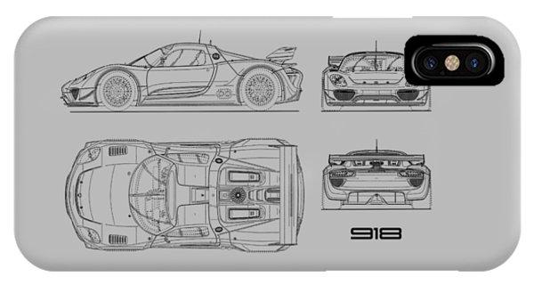 Hybrid iPhone Case - The 918 Spyder Blueprint by Mark Rogan