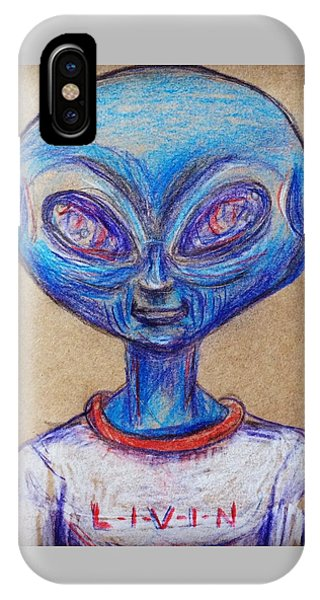 The Alien Is L-i-v-i-n IPhone Case