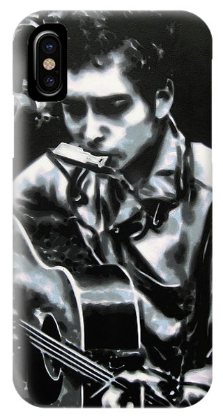 Bob Dylan iPhone Case - The Answer My Friend Is Blowin In The Wind by Luis Ludzska