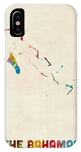 Bahamas iPhone Case - The Bahamas Watercolor Map by Michael Tompsett