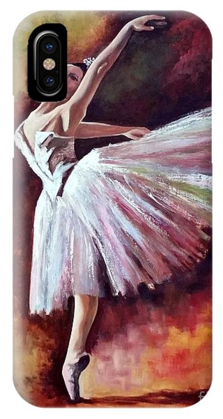 IPhone Case featuring the painting The Dancer Tilting - Adaptation Of Degas Artwork by Rosario Piazza
