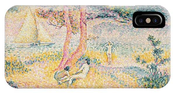 Sunbather iPhone Case - The Beach At St Clair by Henri-Edmond Cross