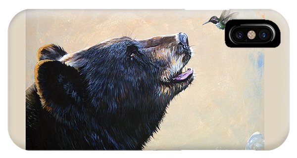 Bear iPhone Case - The Bear And The Hummingbird by J W Baker