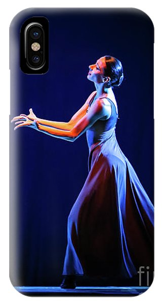 IPhone Case featuring the photograph The Beautiful Ballerina Dancing In Blue Long Dress by Dimitar Hristov