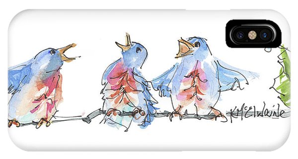 The Birds And The Bee Bird Art Watercolor Painting By Kmcelwaine IPhone Case
