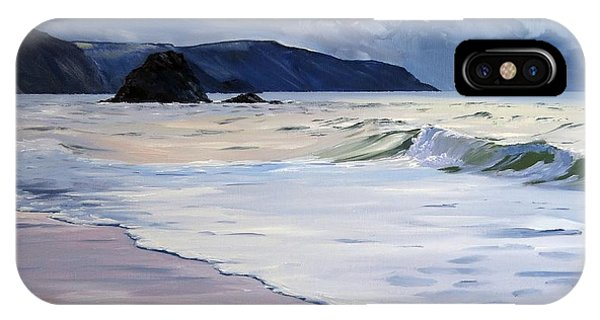 IPhone Case featuring the painting The Black Rock Widemouth Bay by Lawrence Dyer