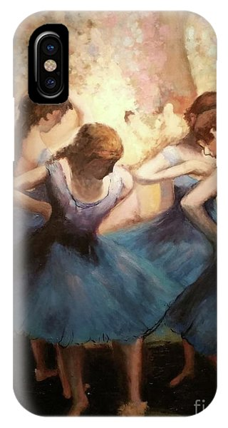 IPhone Case featuring the painting The Blue Ballerinas - A Edgar Degas Artwork Adaptation by Rosario Piazza