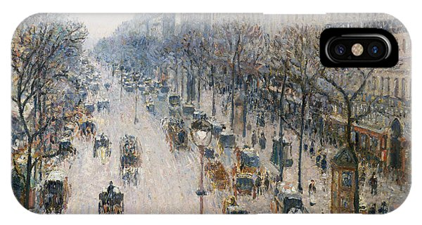 Avenue iPhone Case - The Boulevard Montmartre On A Winter Morning, 1897  by Camille Pissarro