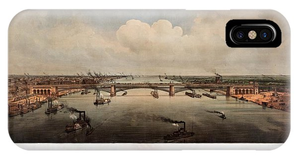 The Bridge At St. Louis, Missouri, Ca. 1874 IPhone Case