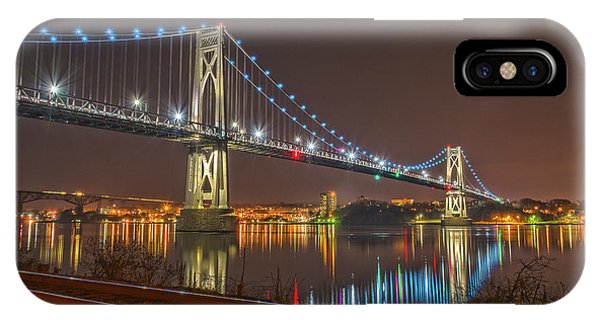 The Bridge With Blue Holiday Lights IPhone Case