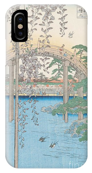 Swallow iPhone Case - The Bridge With Wisteria by Hiroshige