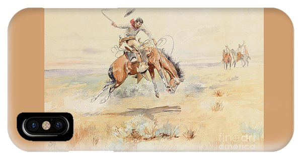 Horseman iPhone Case - The Bronco Buster by Charles Marion Russell