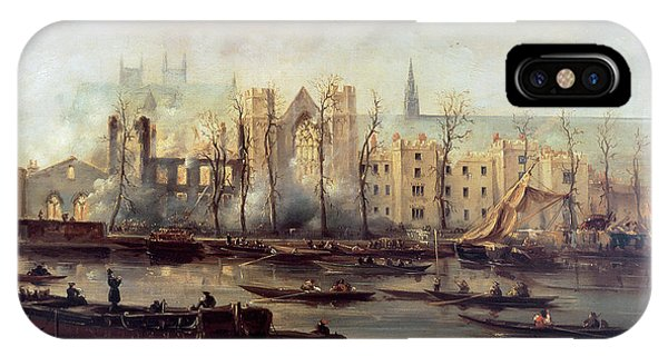 Damage iPhone Case - The Burning Of The Houses Of Parliament by The Burning of the Houses of Parliament