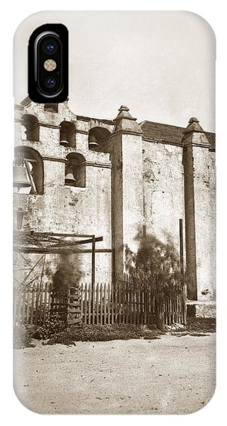 San Gabriel Mission iPhone Case - The Campanario, Or Bell Tower Of San Gabriel Mission Circa 1880 by California Views Archives Mr Pat Hathaway Archives