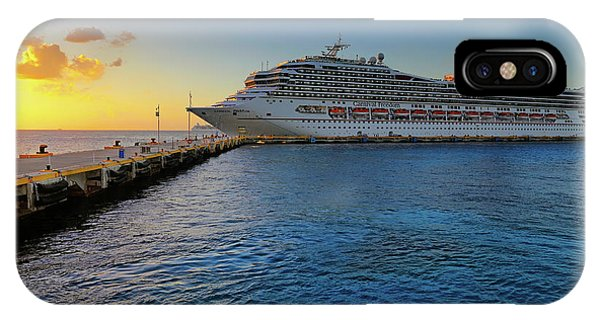 IPhone Case featuring the photograph The Carnival Freedom At Sunset - Cozumel - Mexico by Jason Politte