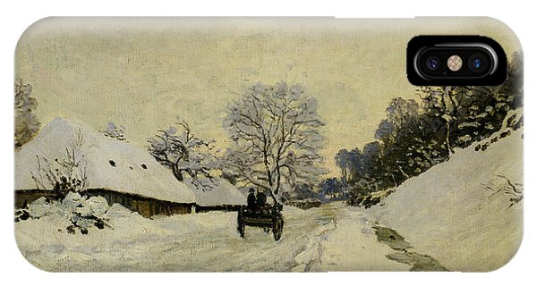 Snowy Road iPhone Case - The Cart by Claude Monet