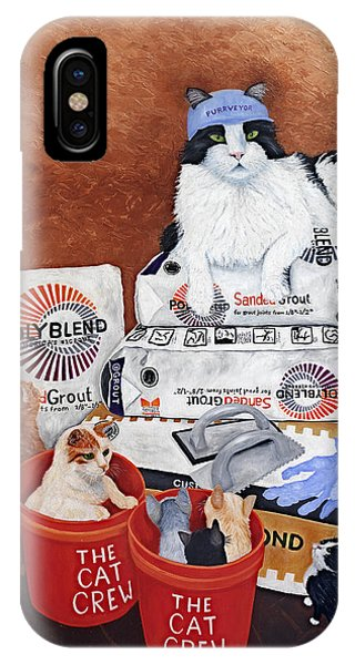 IPhone Case featuring the painting The Cat Crew by Karen Zuk Rosenblatt
