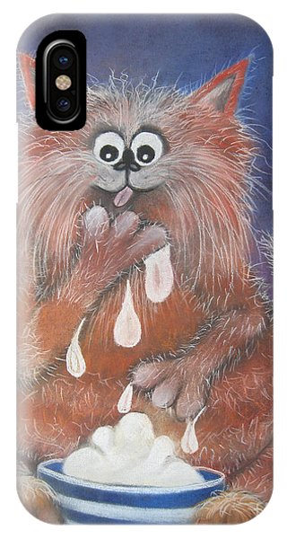The Cat Who Got The Cream IPhone Case