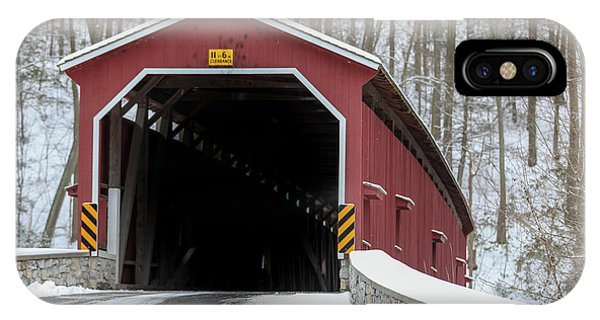 The Colemansville Covered Bridge In Winter IPhone Case