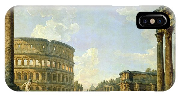 Columns iPhone Case - The Colosseum And Other Monuments by Giovanni Paolo Panini