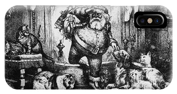 Fireplace iPhone Case - The Coming Of Santa Claus by Thomas Nast