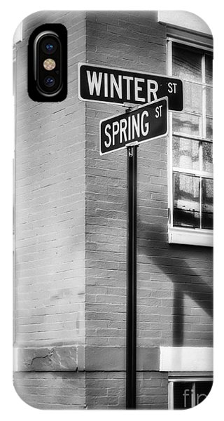 The Corner Of Winter And Spring Bw IPhone Case