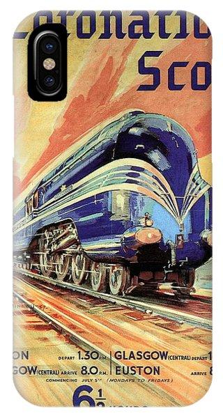 The Coronation Scot - Vintage Blue Locomotive Train - Vintage Travel Advertising Poster IPhone Case