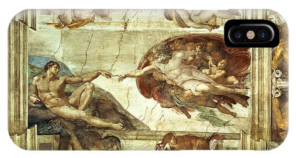 Columns iPhone Case - The Creation Of Adam by Michelangelo