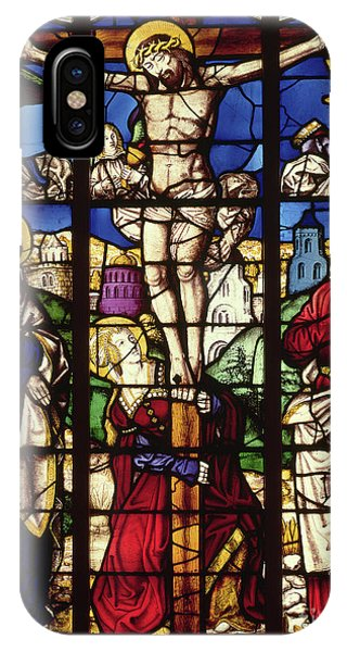 Crucifixion iPhone Case - The Crucifixion, Stained Glass Window by Master of the Holy Kindred