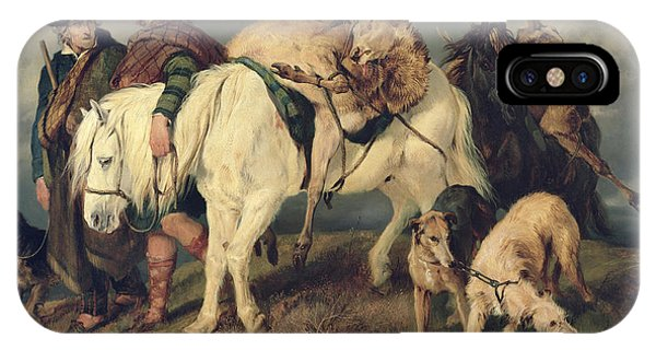 Stag iPhone Case - The Deerstalkers Return by Sir Edwin Landseer