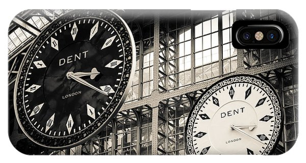 The Dent Clock And Replica At St Pancras Railway Station IPhone Case