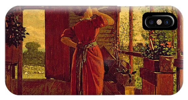 Porch iPhone Case - The Dinner Horn by Winslow Homer