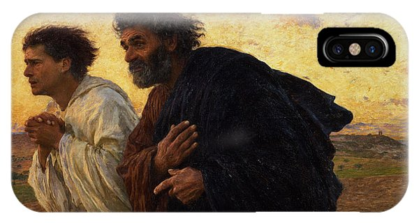 Christianity iPhone Case - The Disciples Peter And John Running To The Sepulchre On The Morning Of The Resurrection by Eugene Burnand