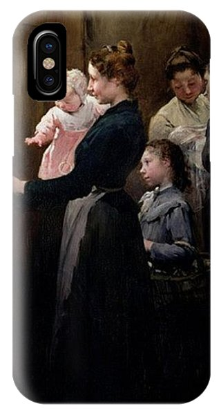 iPhone Case - The Drop Of Milk In Belleville Doctor Variots Surgery The Distribution Of The Milk Henry Jules Jean Geoffroy by Eloisa Mannion