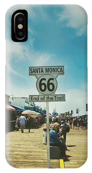 Street Sign iPhone Case - The End Of Sixty-six by Laurie Search