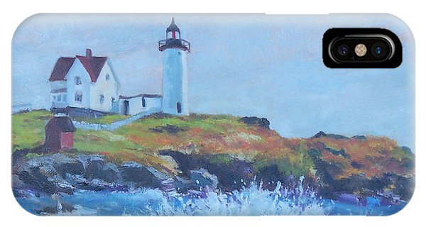 Cape Neddick Lighthouse iPhone Case - The End Of Summer- Cape Neddick Maine by Alicia Drakiotes