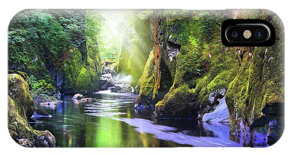 Fairy Glen iPhone Case - The Fairy Glen Gorge River Conwy by Mal Bray