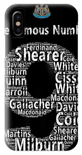 Word Art iPhone Case - The Famous Number 9 - Newcastle United Wordart by Stew Lamb