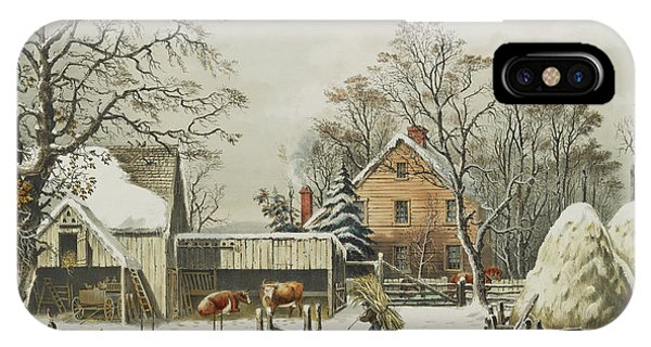 Barn Snow iPhone Case - The Farmers Home  Winter, 1863 by Currier and Ives
