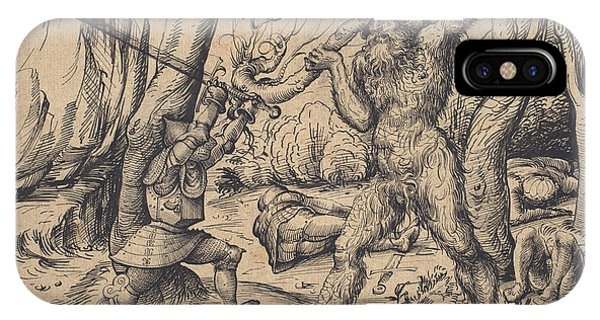 iPhone Case - The Fight In The Forest by Hans Burgkmair I