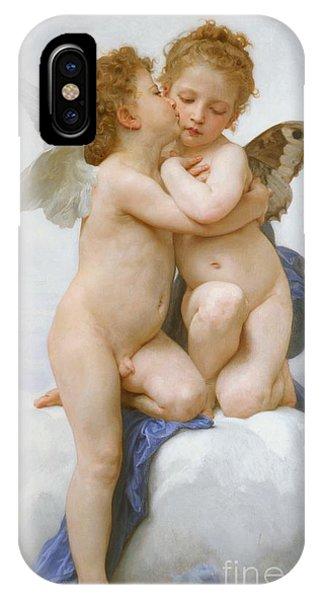 Angels iPhone Case - The First Kiss  by William Adolphe Bouguereau