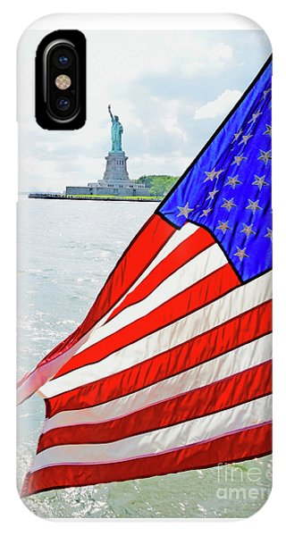 The Flag Flies For The Statue Of Liberty IPhone Case